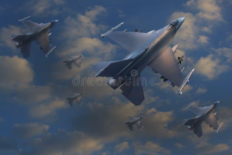 Vôo do plano de jato no céu ilustração royalty free