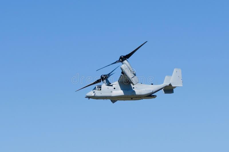 V-22 Osprey aircraft. In flight stock image