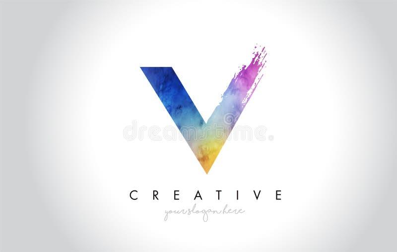V Paintbrush Listowy projekt z akwareli muśnięcia trybem i uderzeniem ilustracji