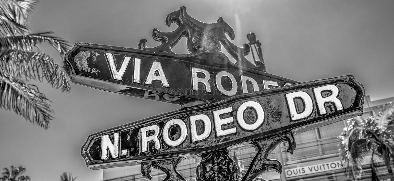 V?a placa de calle del rodeo en Rodeo Drive en Beverly Hills - CALIFORNIA, los E.E.U.U. - 18 DE MARZO DE 2019 fotografía de archivo