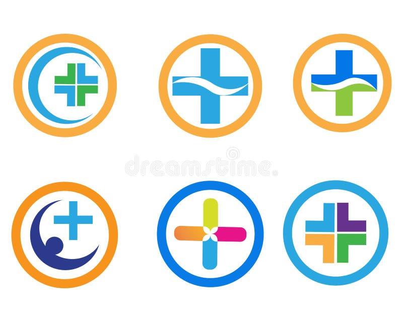 V?rd- medicinsk logomallvektor stock illustrationer