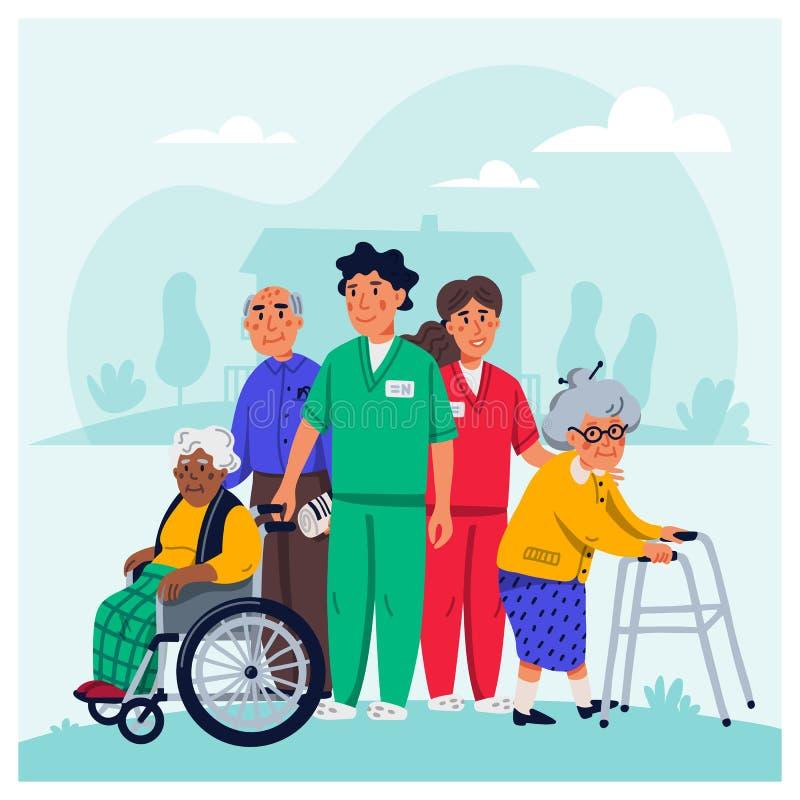 V?rdhembegrepp Grupp av äldre folk och socialarbetare på vit bakgrund H?g folksjukv?rd vektor illustrationer