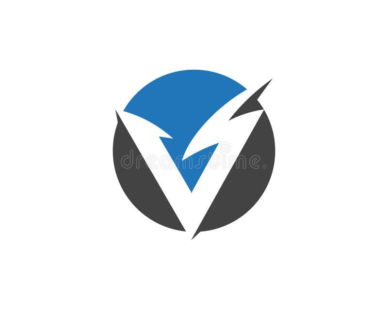 V relámpago Logo Template de la letra ilustración del vector