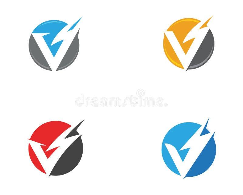 V relámpago Logo Template de la letra libre illustration