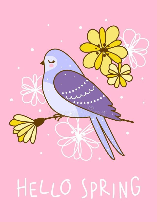 V?rh?lsningkort med den gulliga svalan och blommor stock illustrationer