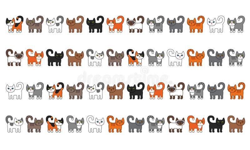 V?rio grupo da beira dos gatos Ilustração bonito e engraçada do vetor do gato da vaquinha dos desenhos animados ajustada com raça ilustração stock