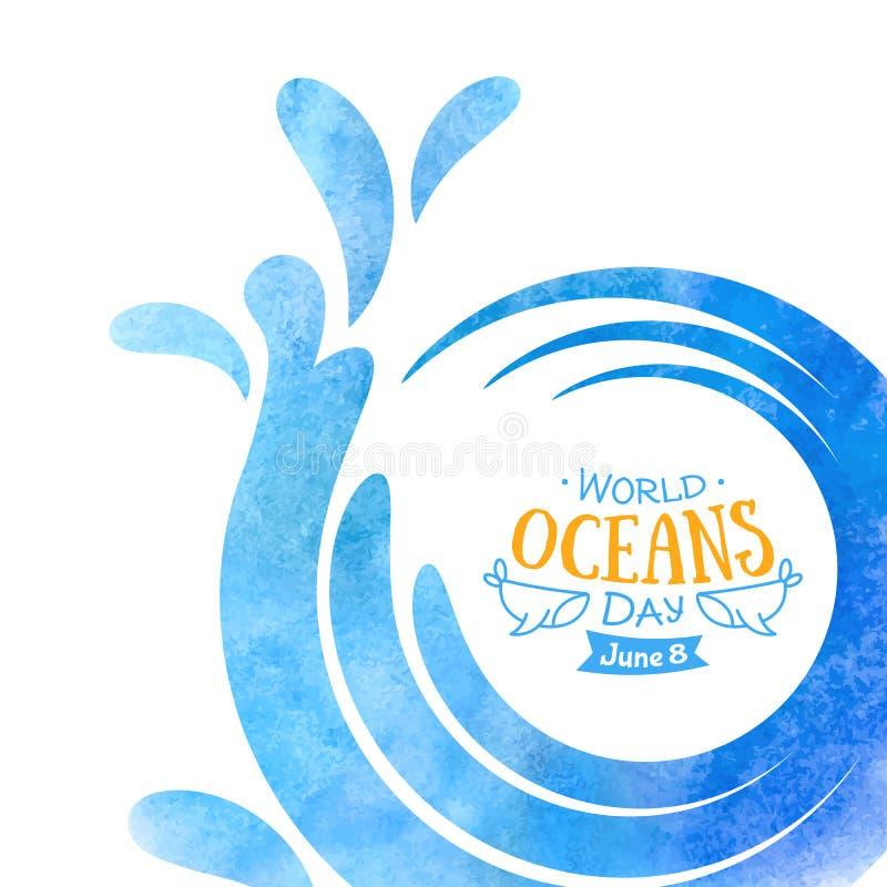 V?rldshavdag Berömmen ägnade för att hjälpa att skydda och bevarar världens hav Drog abstrakta vågor av vattenhanden royaltyfri fotografi