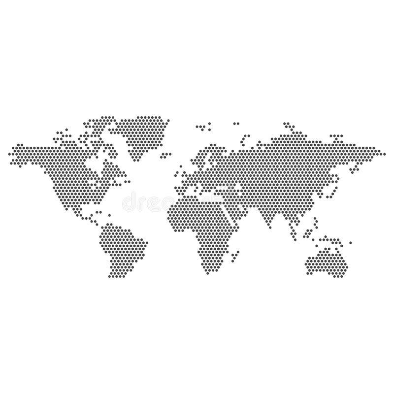 V?rldskartavektor som isoleras p? vit bakgrund Plan jord, gr? ?versiktsmall f?r webbplatsmodellen, ?rsrapport stock illustrationer