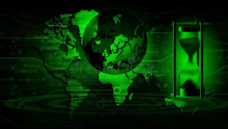 V?rldsn?tverksteknologi med bakgrund f?r tr? f?r timglastidtimme Teknologikommunikation stock illustrationer