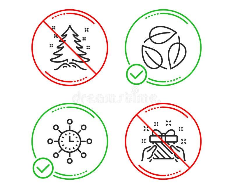 V?rldstid, sida- och julgransymbolsupps?ttning G?vatecken M?tningsapparat, naturblad, gran present vektor stock illustrationer