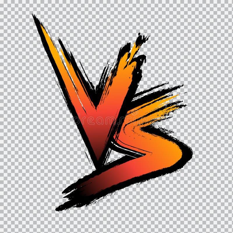 V S Logo di una lettera Lettere VS in background trasparente Esemplare vettoriale della concorrenza, confronto illustrazione di stock