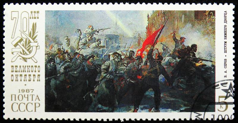 V.A. Serov, `Storm of Zimnij Palace`, 70th Anniversary of Great October Revolution serie, circa 1987. MOSCOW, RUSSIA - AUGUST 31, 2019: Postage stamp printed in royalty free stock images