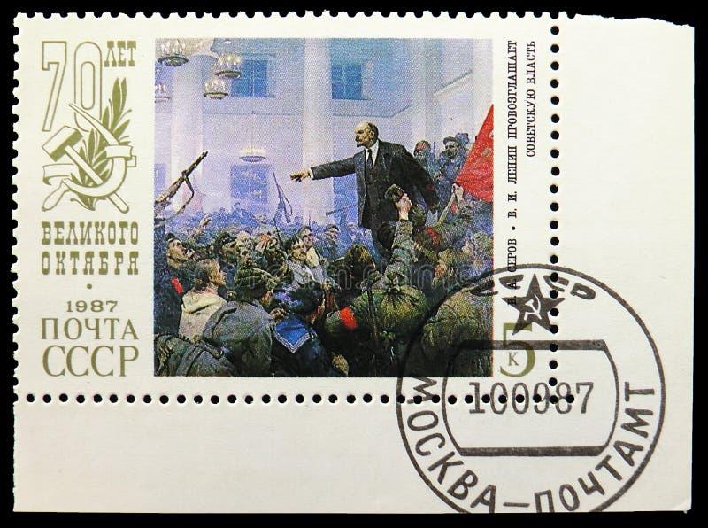 V.A. Serov `V.I. Lenin proclaim Soviet Authority`, 70th Anniversary of Great October Revolution serie, circa 1987. MOSCOW, RUSSIA - AUGUST 31, 2019: Postage stock photos