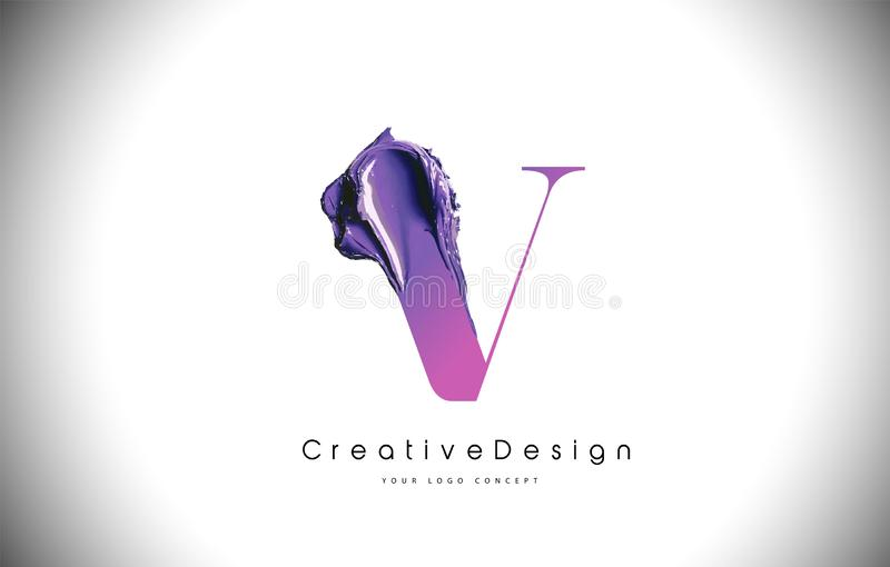 V slaglängd för målarfärg för borste för bokstavsdesign Purpurfärgad v-bokstav Logo Icon med Violet Paintbrush royaltyfri illustrationer