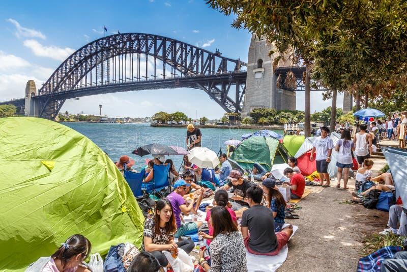 V?spera do ` s do ano novo em Sydney Harbour fotografia de stock