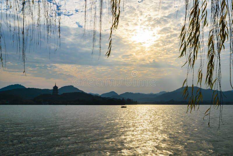 V?stra sj?, Hangzhou, Kina arkivfoto
