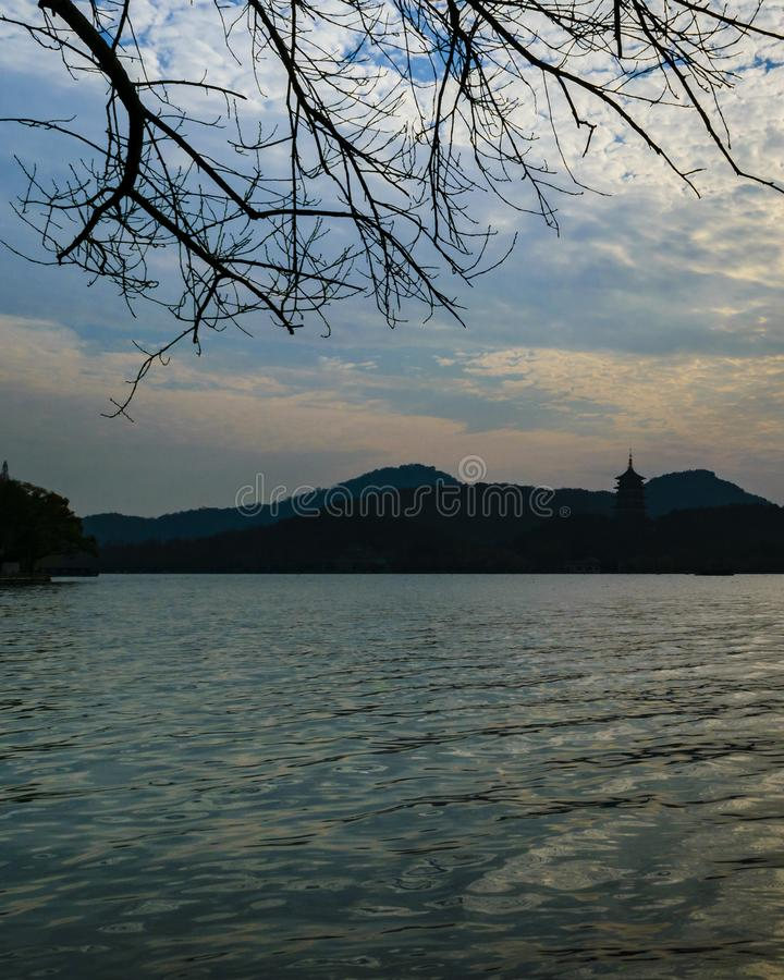 V?stra sj?, Hangzhou, Kina royaltyfri bild