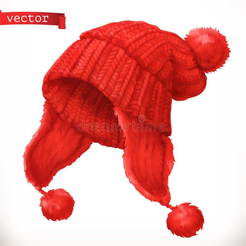 V?tements d'hiver Icône tricotée de vecteur du chapeau 3d illustration stock