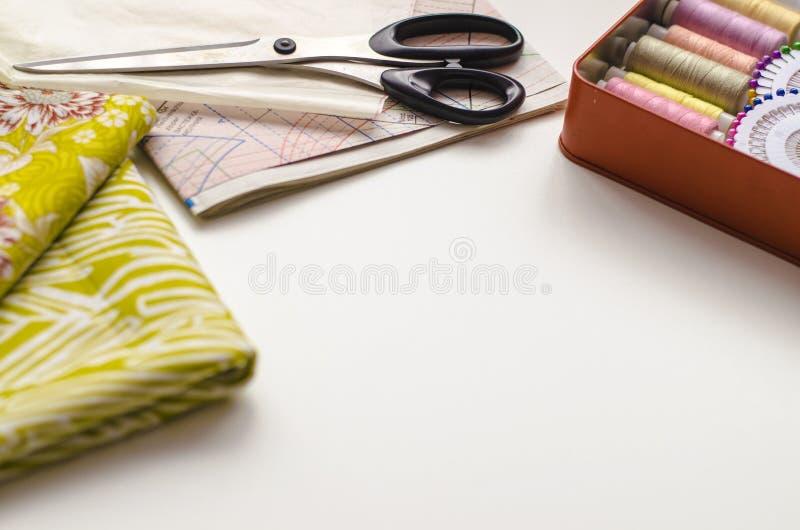 V?tements de couture de pr?paration de mod?le de robe, secteur de textile photo stock