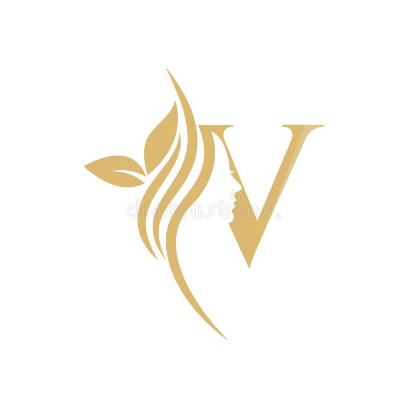 V Vector abstract logo, merkmodel in trendy lineaire minimale stijl, embleem voor schoonheidsstudio en cosmetica - vrouwelijk vector illustratie