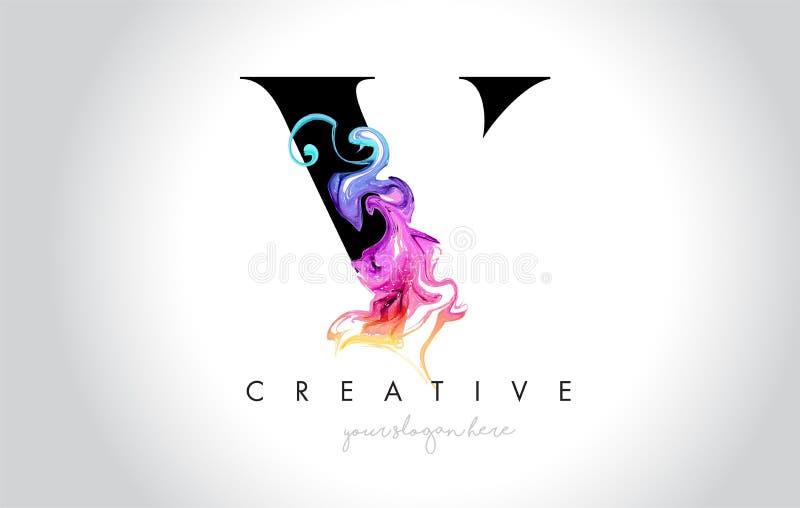 V Vibrant Creative Leter Logo Design with Colorful Smoke Ink Flo. Wing Vector Illustration stock illustration