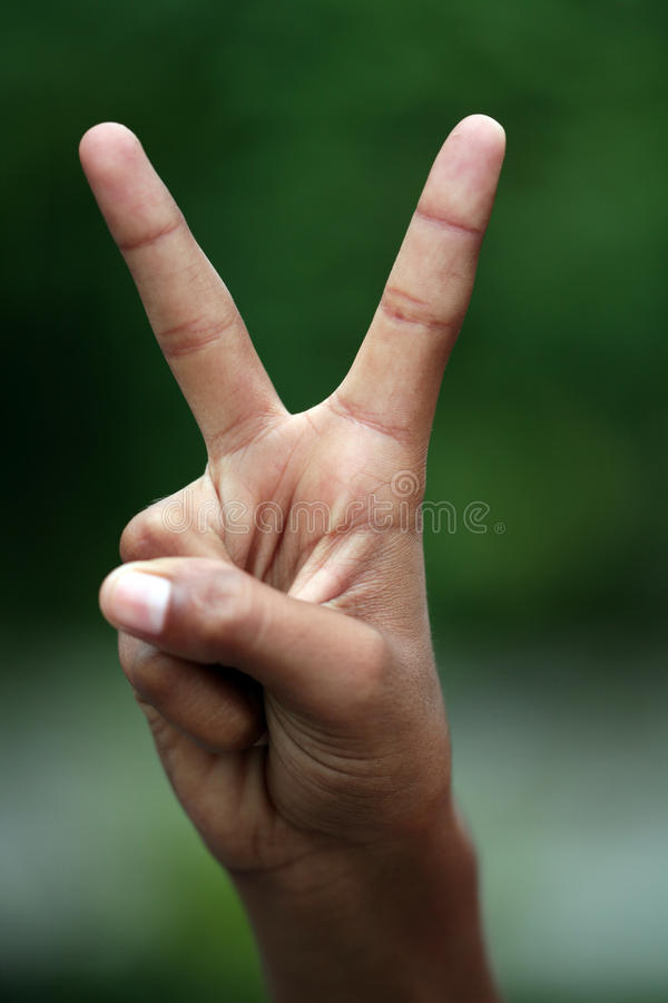 V for victory. Hands depicting victory sign isolated on blur background stock photo
