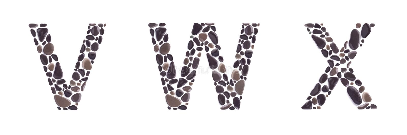 V-, w- und x-Buchstaben gemacht von den Strandsteinen lokalisiert auf weißem Hintergrund stockfotos