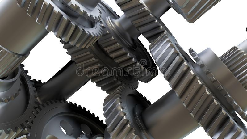 V?xell?dbegrepp Metallkugghjul, axlar och lager royaltyfri illustrationer