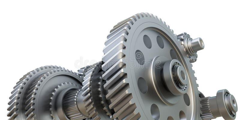 V?xell?dbegrepp Metallkugghjul, axlar och lager vektor illustrationer