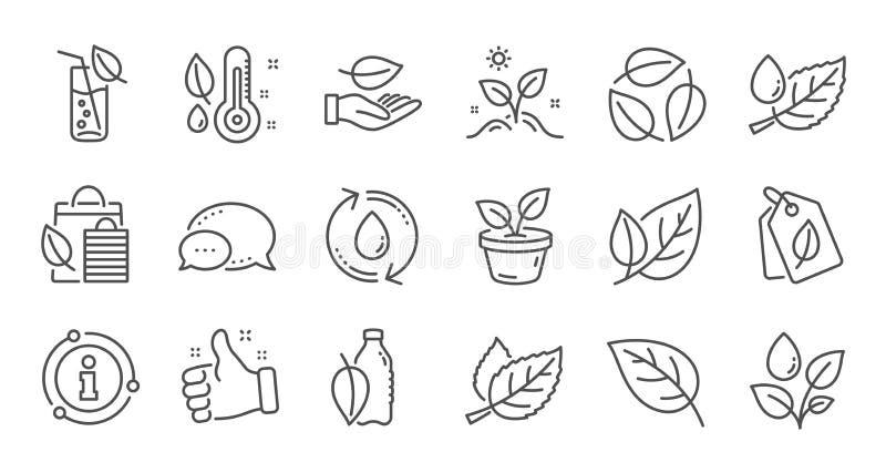 V?xter fodrar symboler Blad, v?xande v?xt och fuktighetstermometer Linj?r symbolsupps?ttning vektor stock illustrationer