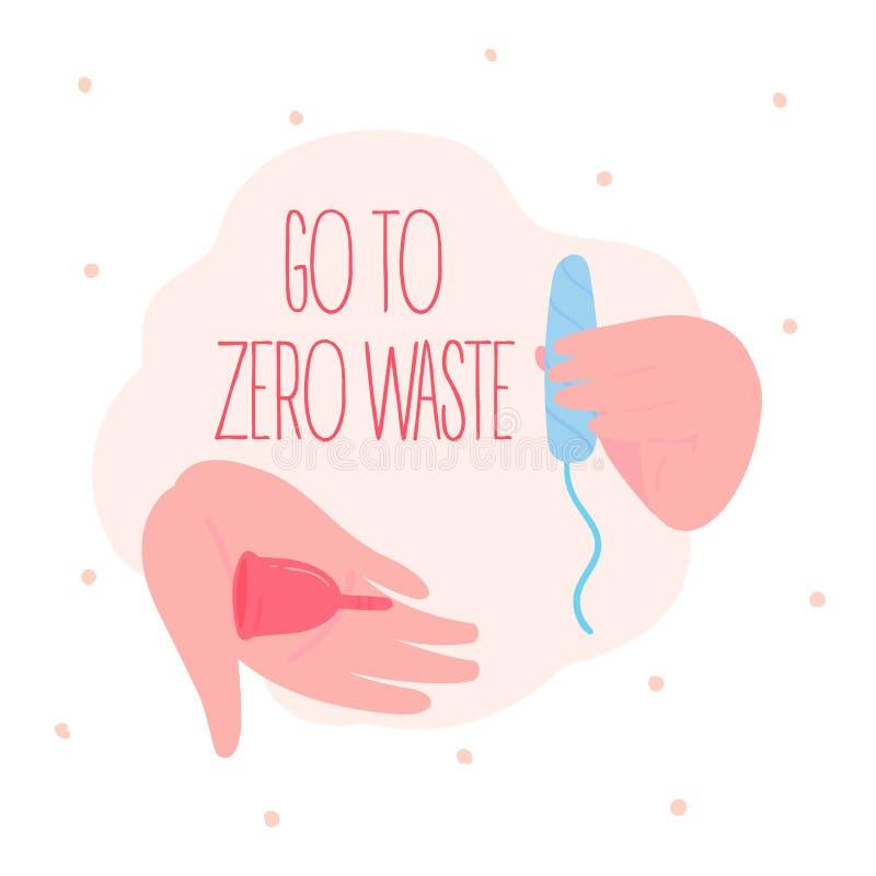 V? a zero desperd?cios Copo menstrual e tampão do algodão ilustração stock