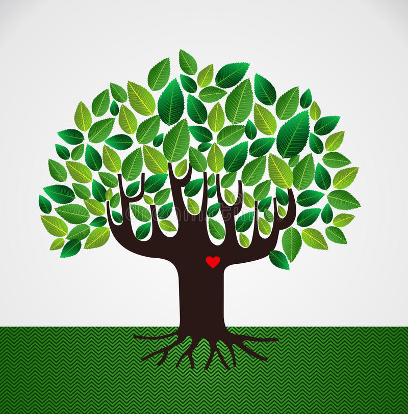 Va el árbol verde del concepto del amor libre illustration