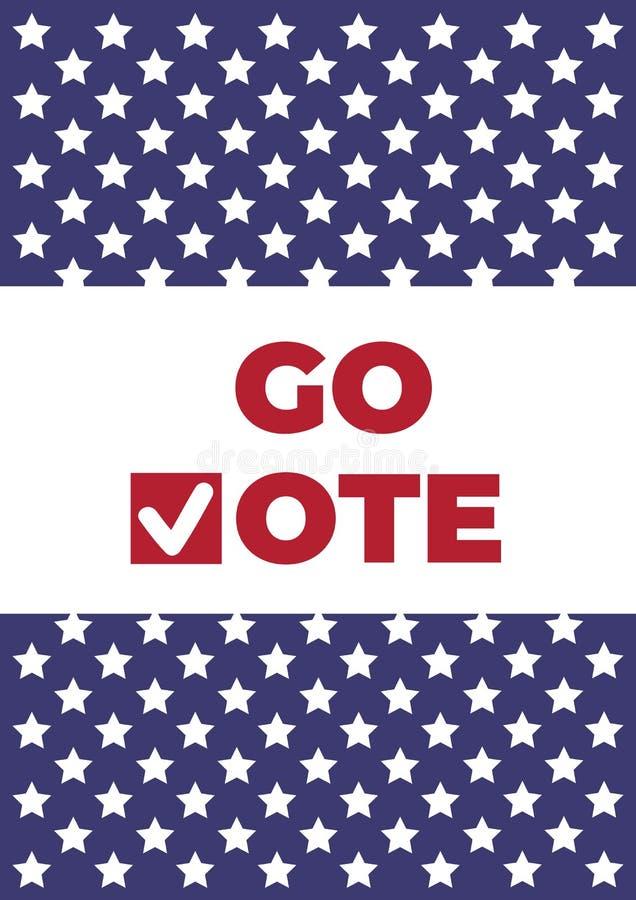Va el cartel del voto Marcas de verificación rojas de icono ilustración del vector