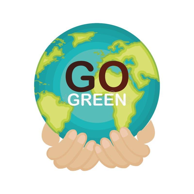 va el cartel verde de la ecología stock de ilustración