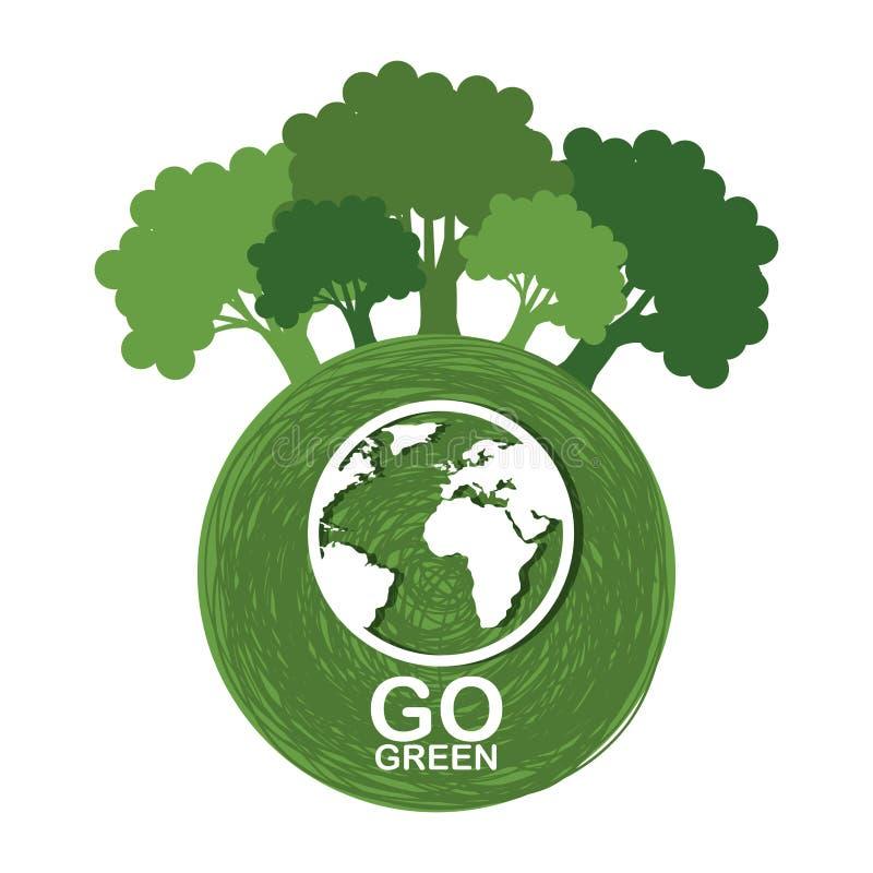 va el cartel verde de la ecología ilustración del vector