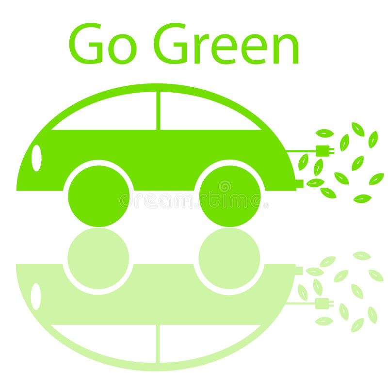 Va el coche eléctrico cómodo verde de Eco stock de ilustración