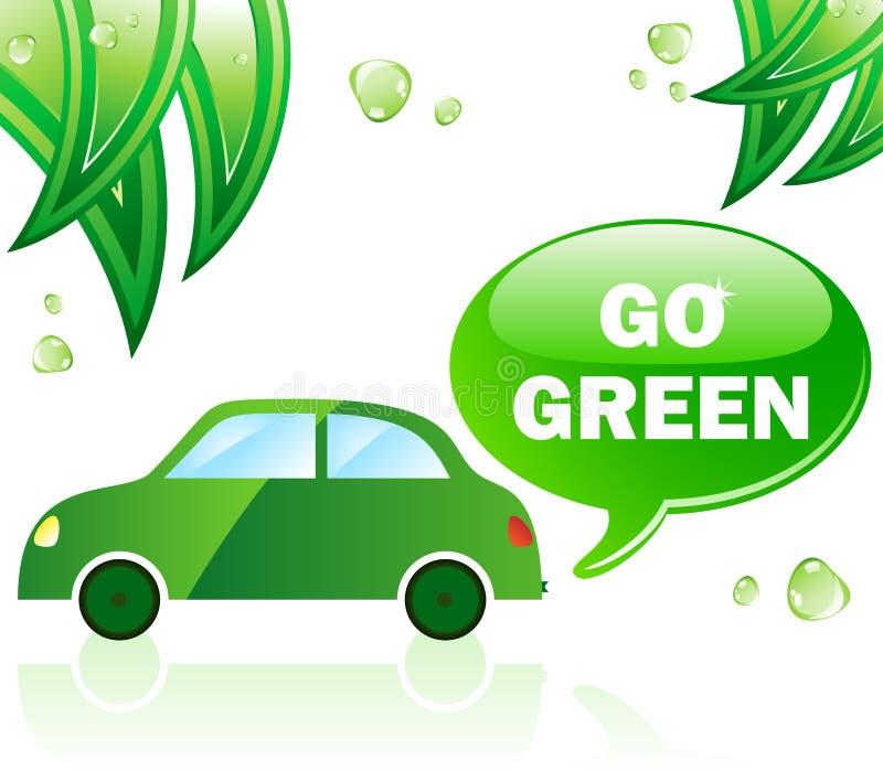 Va el coche verde de la ecología ilustración del vector
