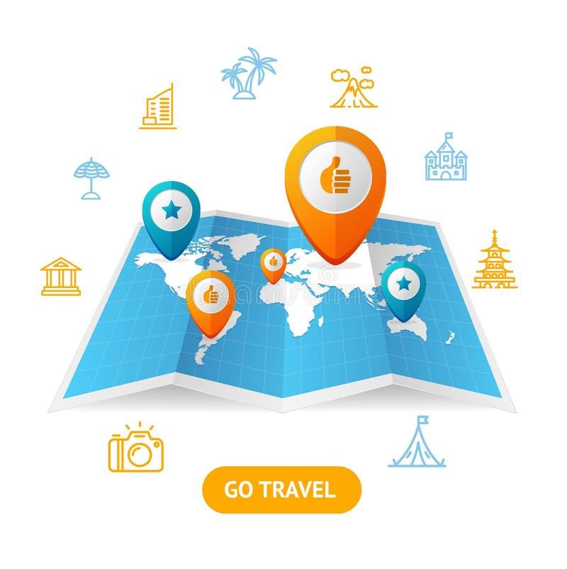 Va el concepto de la reservación del viaje Vector stock de ilustración