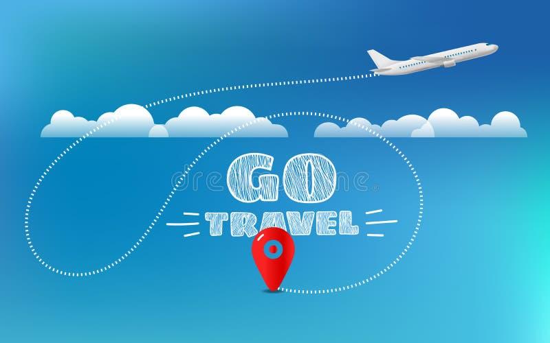 Va el concepto del viaje Bandera del viaje con los aviones ilustración del vector