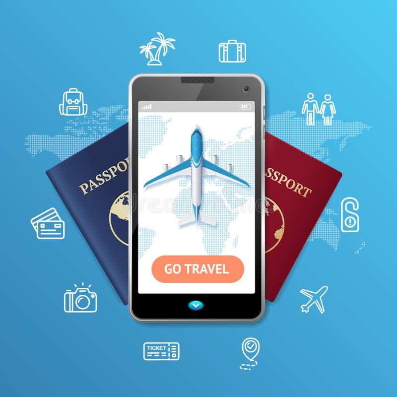 Va el concepto móvil de la reservación del boleto del viaje Vector stock de ilustración
