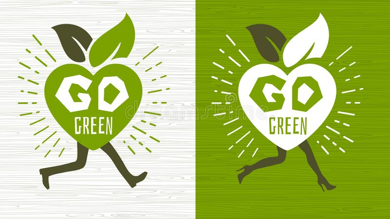 Va el diseño feliz del logotipo del emblema del Día de la Tierra de la ecología verde que pone letras a diseño verde fresco de la libre illustration