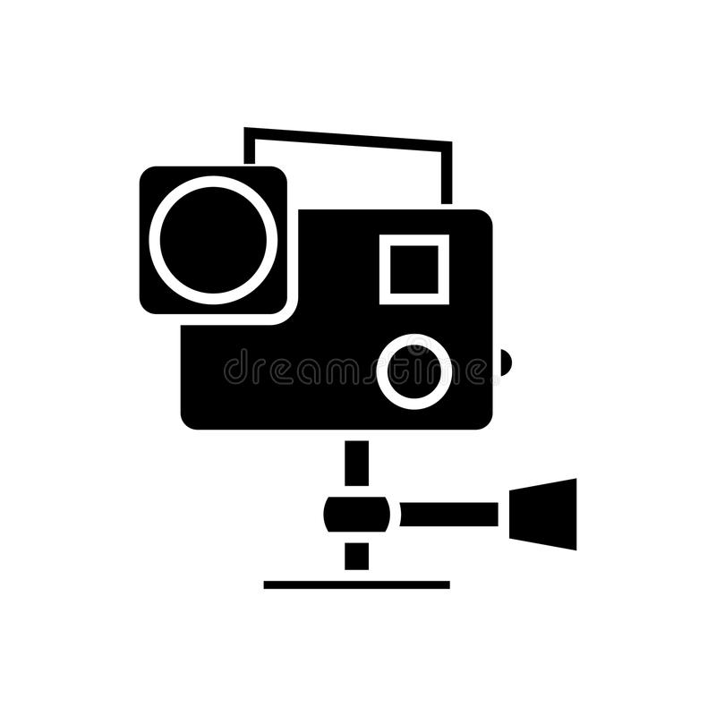 Va el favorable icono de la cámara de vídeo, ejemplo del vector, muestra negra en fondo aislado libre illustration