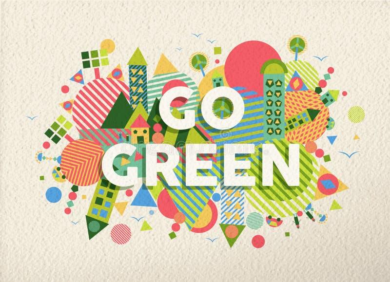 Va el fondo verde del diseño del cartel de la cita stock de ilustración