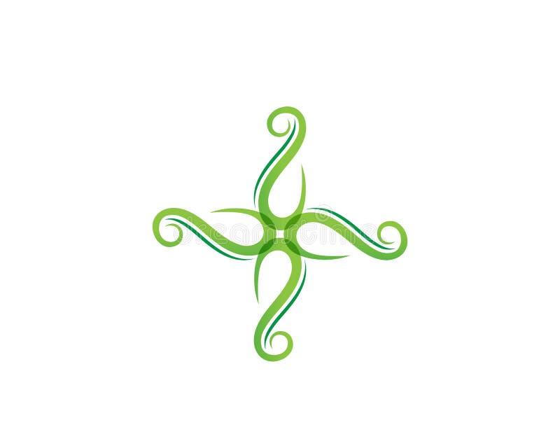 va el icono verde del vector del elemento de la naturaleza de la ecología de la hoja, ilustración del vector