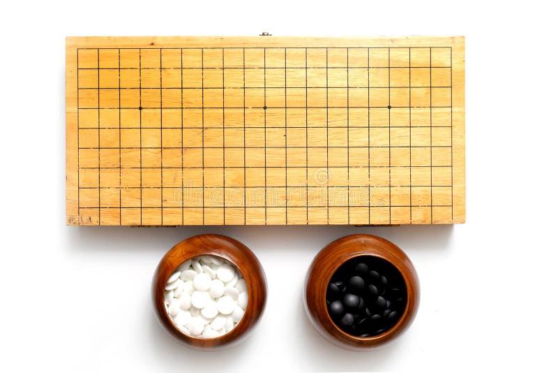 Va - el juego de mesa chino antiguo de la estrategia en blanco imágenes de archivo libres de regalías