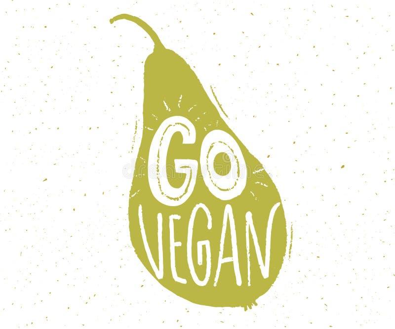 Va el lema del vegano en la forma de la pera Etiqueta de las letras de la mano Insignia vegetariana de la dieta ilustración del vector