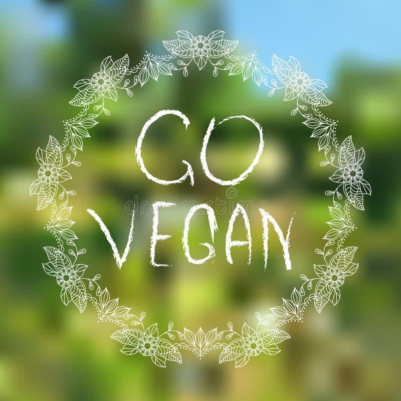 Va el vegano elementos tipográficos Mano-bosquejados en fondo blured fotos de archivo