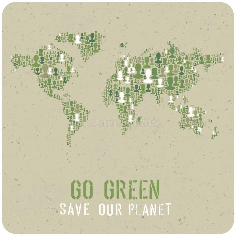 va el verde Concepto del cartel de la ecología Vector stock de ilustración