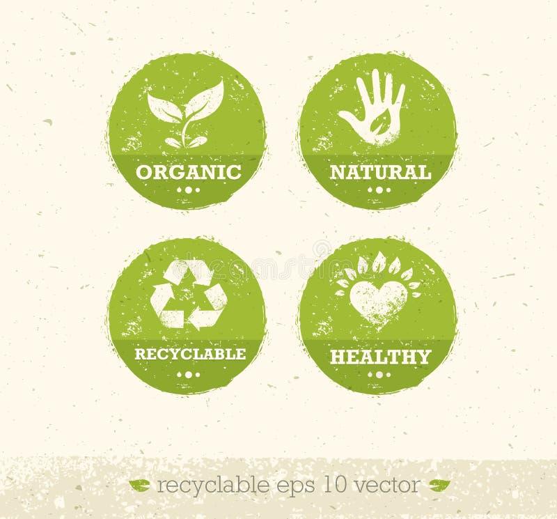 Va el verde recicla reduce concepto del cartel de Eco de la reutilización Ejemplo orgánico creativo del vector en fondo áspero libre illustration