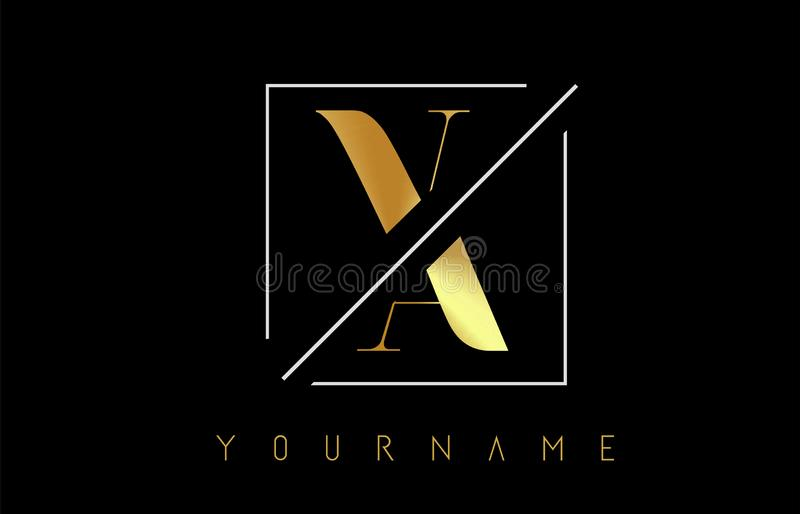 VA Golden Letter Logo with Cutted and Intersected Design. And Square Frame Vector Illustration stock illustration